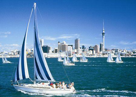 Stripey sail boat