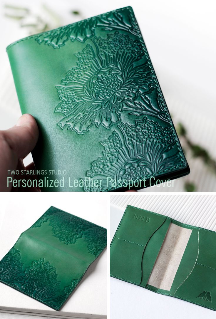 Green Leather Passport Holder, Travel Wallet, Hand Painted Embossed Passport Cover, Personalized Passport Wallet For Women