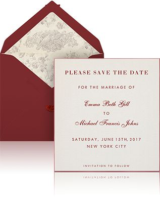 Online Wedding save the date example sending with white envelope, burgundy silk lining and beige designer card with engraved text