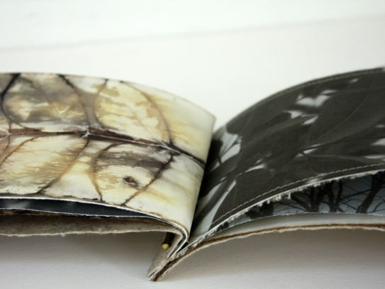 Lotta Helleberg - Eco printing is a natural printing method where the leaves are positioned on the fabric, rolled up tightly, and processed in simmering water. The impressions left on the fabric are from the pigments released by the leaf.