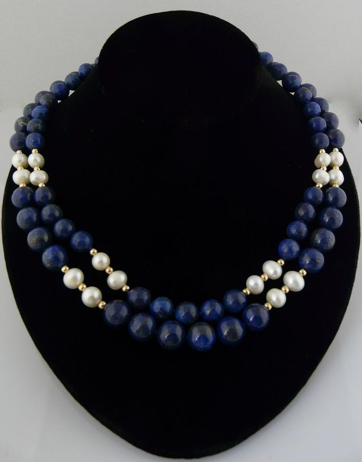 Beautiful and Classic Double Strand Lapis, Cultured Pearl, and 14Kt Gold-Filled Beaded Necklace found on Ruby Lane