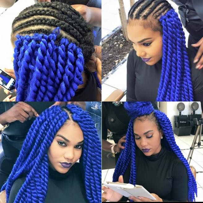 Electric Blue Crochet Havana Twist With Blue Lip Livin