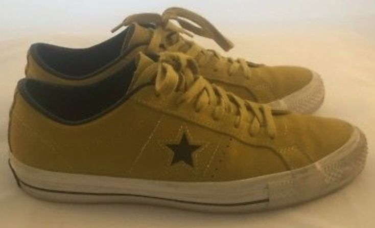 FOR SALE:  Converse One Star Pro Yellow Suede Size UK 9 Trainers Sneakers Vintage Golf All