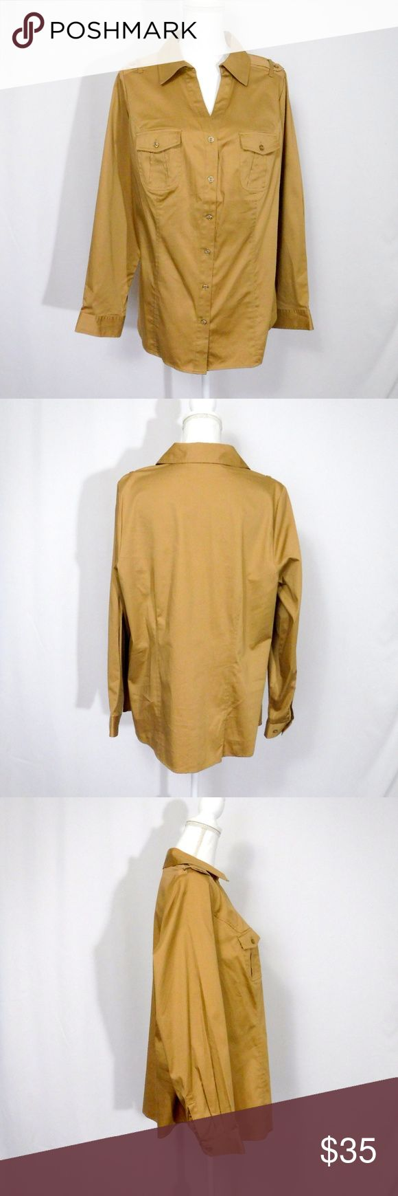 """NWT Lane Bryant Military Style Shirt Plus Size 16 Button Front Closure Long Sleeves with Double Button Cuffs 2 Pockets Fitted Fit Stretch Material  97% Cotton 12% Polyester 3% Spandex  New With Tag   All Measurements Posted Below are Aprox. & Taken While Laying Flat  Shoulders: 16"""" Under Arms: 22""""(44) Length: 27""""  Please Ask Any Questions You may Have Before Purchasing.  Smoke & Pet Free Home  Please Check Out My Other Items  Inv#252 Lane Bryant Tops Button Down Shirts"""