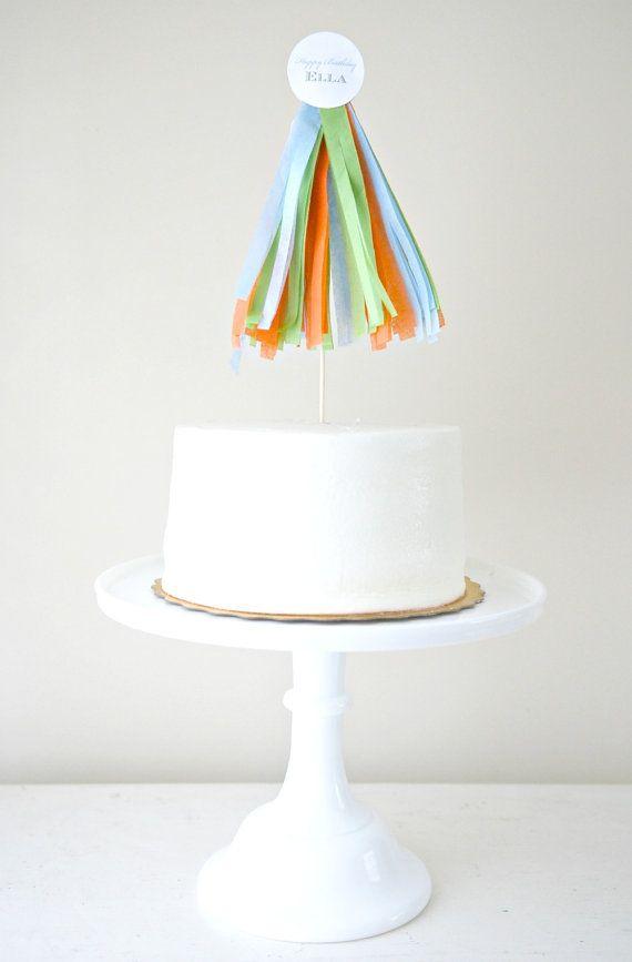 Tissue Tassel Cake Topper - simple & sweet