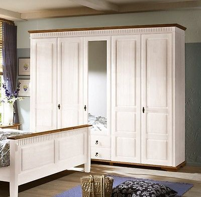 Simple Details zu SEVILLA Kleiderschrank Schrank t rig Landhaus Kiefer massiv weiss