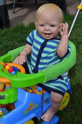 """OOAK Reborn 26"""" Toddler Boy baby Aiden doll original art newborn   9Month old"""