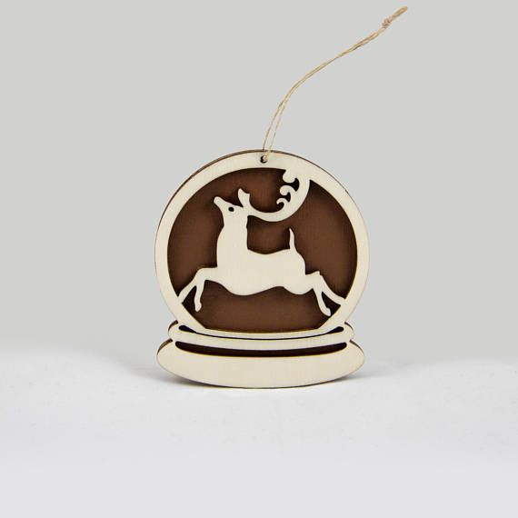 Wooden snow globe Christmas ornament with a deer