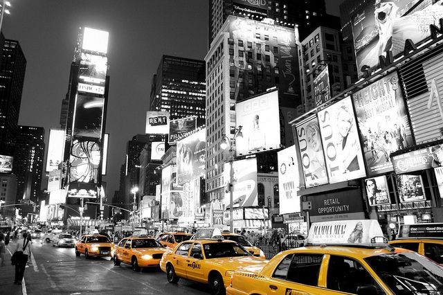 Wall Decor: B/W & yellow photography  Example: Times Square New York Black White and Yellow taxi cab! 66,000 views! by Paul in Leeds, via Flickr