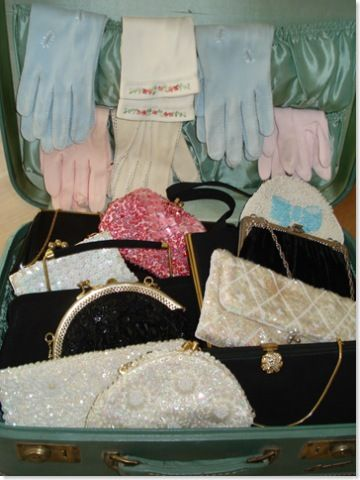 Vintage gloves and purses in a vintage suitcase!