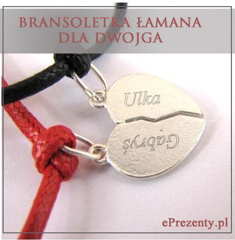 Dwie bransoletki sznurkowe Marbell dla dwojga + łamane serce ze srebra (pr 925) z możliwością grawerowania dedykacji, życzeń... http://bit.ly/1uk0LRo