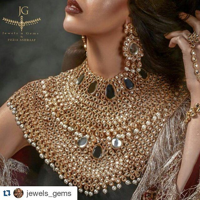 #Repost @jewels_gems  So this necklace had been getting everyone a little excited..   This is the RAJOURI necklace set - currently not on the website. This is styled with 2 Rajaouri necklaces NOT one.  I  @foziaashraaf  styled it with 2 to creative a more statement look for @jewels_gems.  #wearjewelsngems  #foziaashraaf