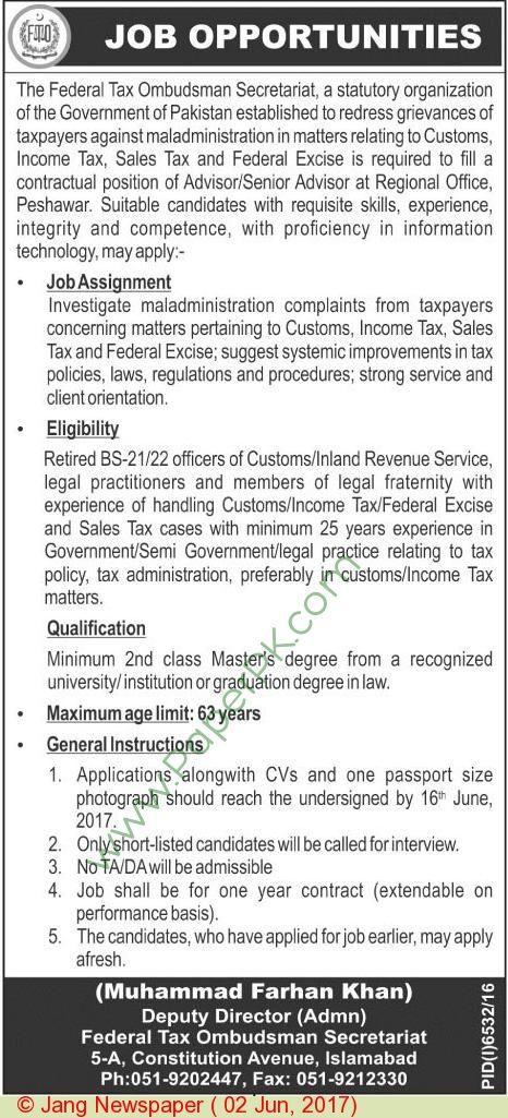 Federal Tax Ombudsman Secretariate Islamabad Jobs 1