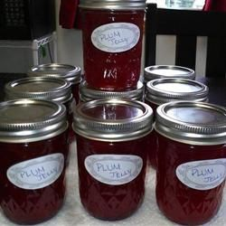 Plum Jam Recipe -  Original recipe makes 8 half-pint jars  4 1/2 cups pitted, chopped plums  1/2 cup water  7 1/2 cups white sugar  1/2 teaspoon butter (optional)  1 (1.75 ounce) package powdered fruit pectin  8 half-pint canning jars with lids and rings Check All Add to Shopping List