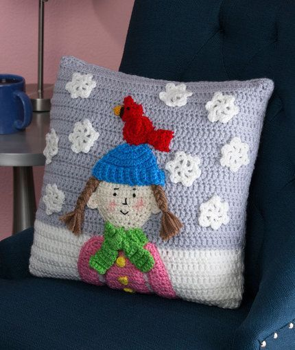 Snowy Day Pillow Free Crochet Pattern from Red Heart Yarns