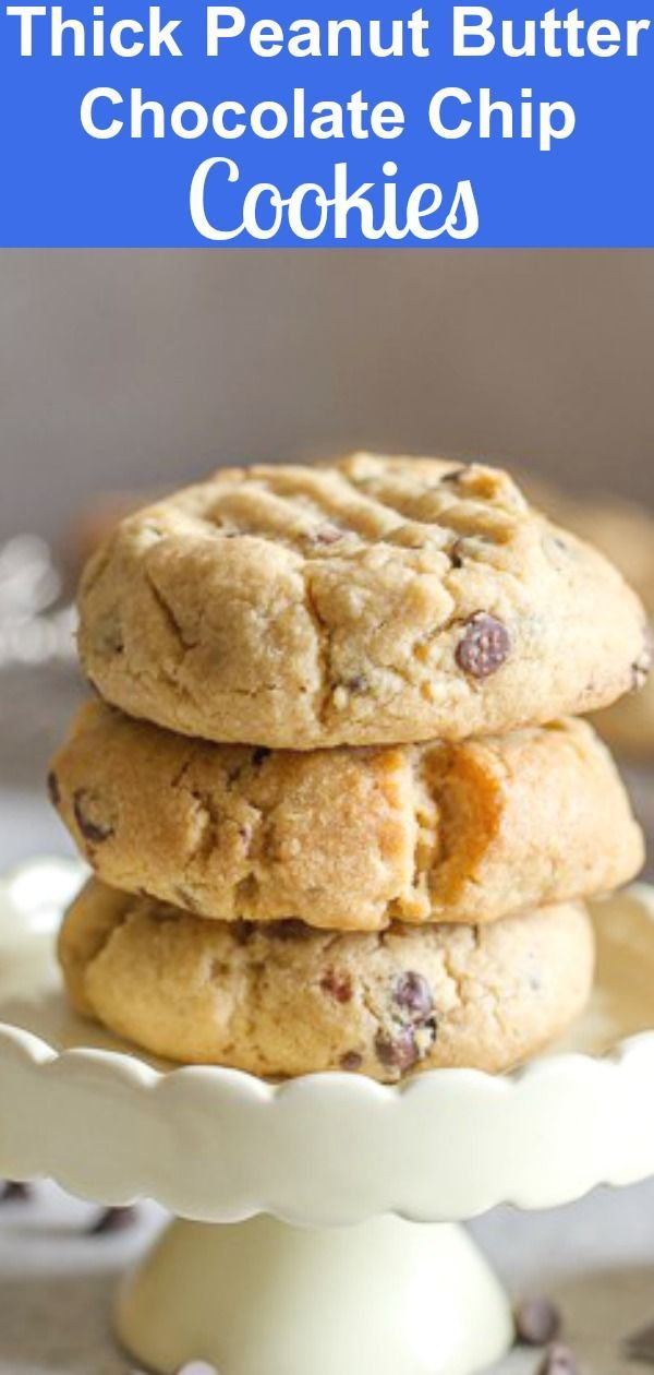 Thick Peanut Butter Chocolate Chip Cookies, the best Peanut Butter Cookies you will make or eat. Made with loads of chocolate chips and deliciously thick. Everyone will love them, not just the kids! #cookies #peanutbuttercookies #thickcookies #snack #peanutbutterchocolatechipcookies