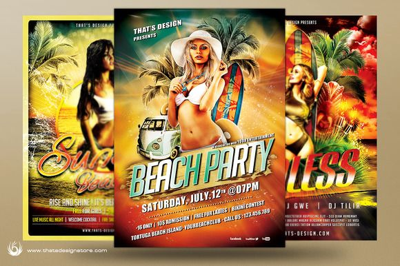Beach Party Flyer Bundle V1 by ThatsDesignStore on Creative Market
