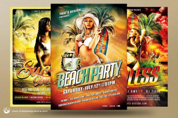 Beach Party Flyer Bundle V1 by ThatsDesignStore on Creative Market