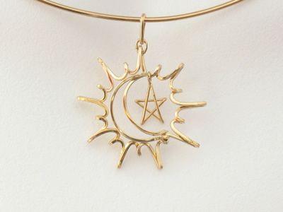 """Sun/moon/star'' wire pendant"