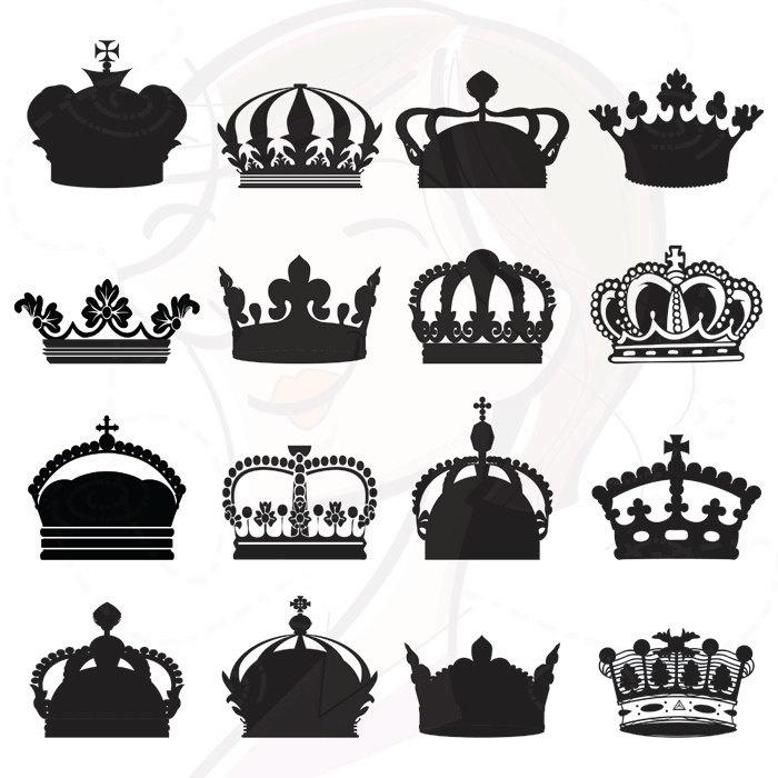 Digital Silhouette Clip Art Royal Crowns