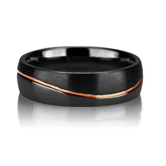 Black Tungsten Ring Curved Rose Gold Wedding Band Ring Tungsten 6mm 18K Tungsten…