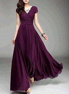 Ltfei Women's Fashion Bohemian Maxi Dress Evening Dress V-neck Dark green XL comes in dark green.  $25