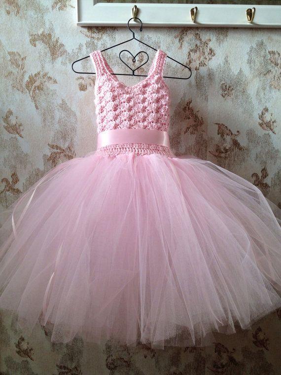 Pink flower girl tutu dress...birthday tutu by Qt2t on Etsy, $69.99