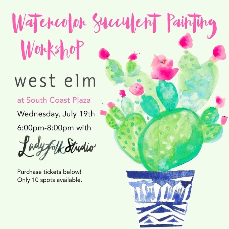 Come relax for the evening and let your creative juices flow in this two  hour workshop hosted inside the beautiful West Elm store at South Coast  Plaza. Kimberly Heimbach of Ladyfolk Studio will guide you through the  basics of painting with watercolor as well as a step by step process for  pai
