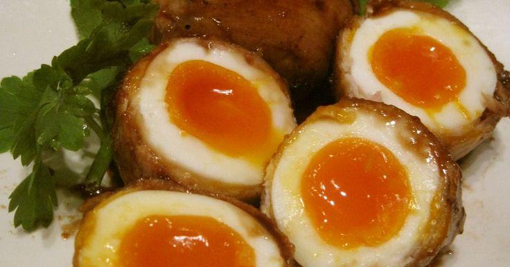 とろ~り半熟卵が美味な肉巻きおにぎりならぬ、肉巻き卵です。 冷めても美味しい♪甘辛なタレが、お酒のおつまみにもぴったり♪