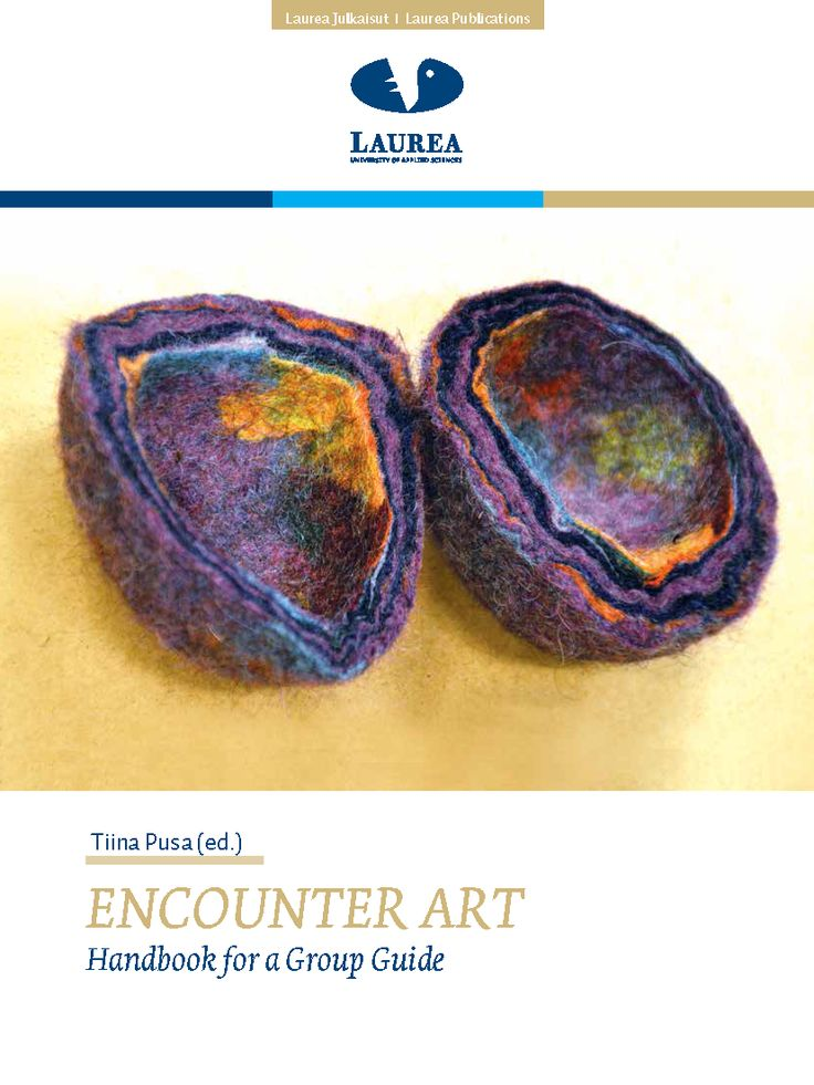 || 27. Pusa (ed.) – Encouter Art. Handbook for a Group Guide. (2014.) || This handbook is a collection of the subjects handled in Encounter Art group guide training. In addition to Encounter Art group guides, the handbook is well suited to social-welfare, health-care and educational supervisors when they assess the applicability of Encounter Art to the operations of their own units.