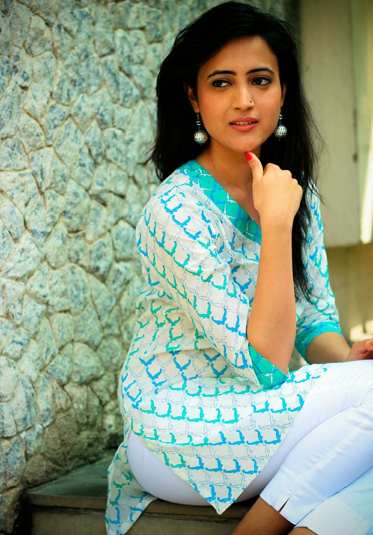 #Prints Embrace freshness with this white short kurta. Prints in different shades of cool blue make a perfect combination with white.