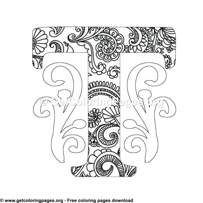 Zentangle Monogram Alphabet Letter T Coloring Sheet Mandala Coloring Pages Owl Coloring Pages Lettering Alphabet