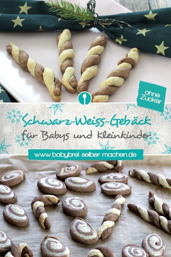 Schwarzweiss-Kekse für Babys ohne Zucker   – Weihnachts-Rezepte für Babys und Kleinkinder