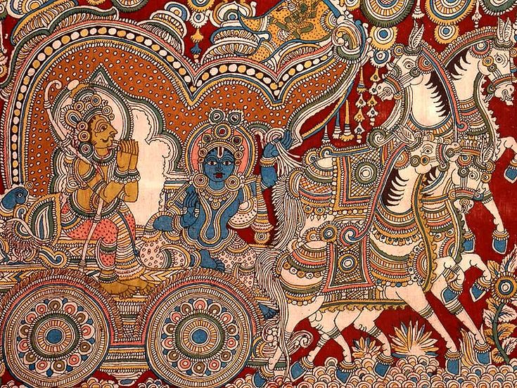 Andhra Kalamkari takes the inspiration from the historical architecture such as temples, forts and palaces. The motif include animals and birds, like Lion, Peacock, Elephant, as well as Indian Gods and Goddesses.
