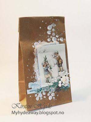 One of 24 Mixed Media Kraft bags for an advent calendar. Created as a DT for Hobbykunst, Paper from Pion and Papirdesign. Dies from Rayher. Made by Kirsten Hyde.