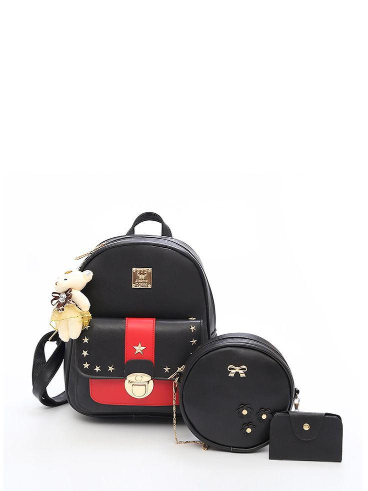 Shop Star Studded Decor Backpack With Bear Charm 3pcs online. SheIn offers Star Studded Decor Backpack With Bear Charm 3pcs & more to fit your fashionable needs.