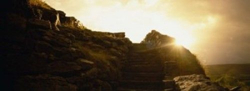Silhouette of a cave at sunset, Ailwee Cave, County Clare, Republic Of Ireland Poster Print by Panoramic Images (36 x 12)