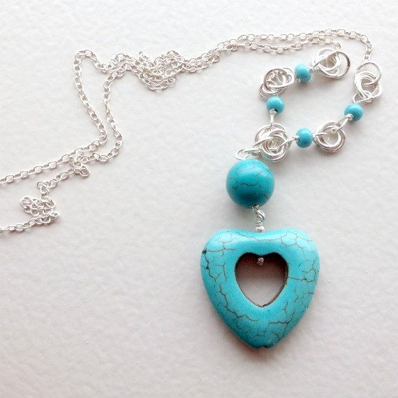 Turquoise Heart Necklace Sterilng Silver Jewellery Chainmaille Jewelry Valentine Natural Gemstone Pendant Chain Love Mother's Day N-183