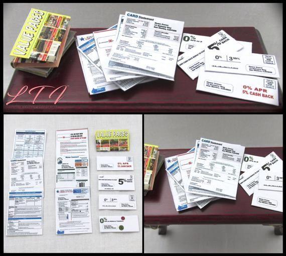 DESK MAIL LETTERS Dollhouse Miniature 1:12 Scale Envelope Bill Mail Office Set