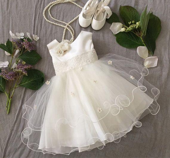 Soft White Ivory Tulle Baby Girl Dress Baptism by PurdyGurly