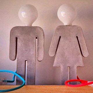El y ella: Lámparas de cemento   -   Ele e ela. Cement Lamp by Cintia Marianella
