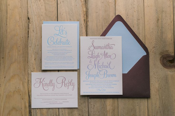 BAILEY Suite Romantic Package, awesome ombre wedding invitations, letterpress, split fountain, blue and marsala, unique wedding invitations