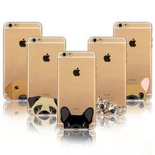 Super lindo gato de dibujos animados de perro bulldog cajas del teléfono para iphone 6 6 s más 6 Más 5 5S SÍ Caso Suave Del Gel de TPU Cubrir La Piel Flexible(China (Mainland))