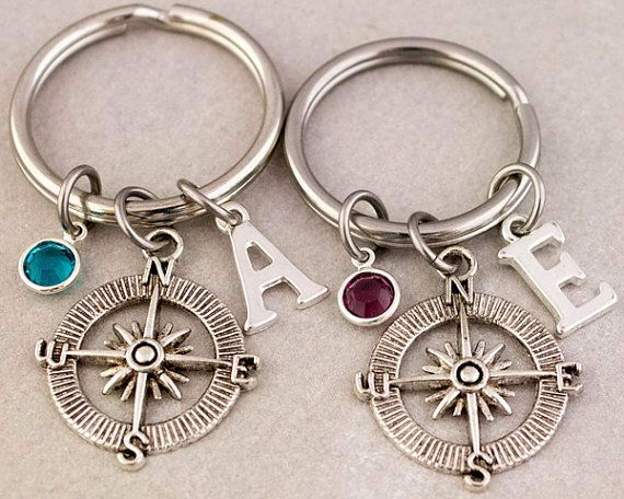 Two Best Friend Compass Keychains  Best by CharmedByTwentySix7