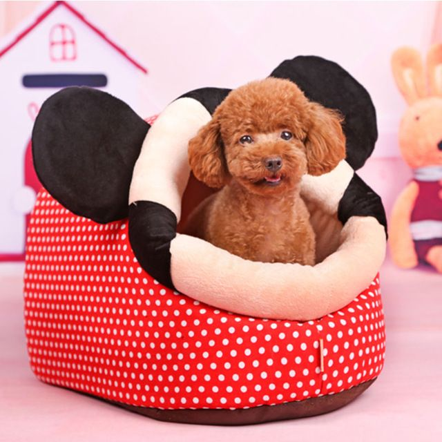 Cute mickey Soft small pet dog cat sofa Bed Pet House for chihuahua winter warm fleece dog puppy cave bed nest kennel cushion