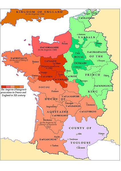 Map of Plantagenet Possessions in France / England, 1154