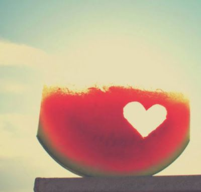 summer love with a watermelon heart