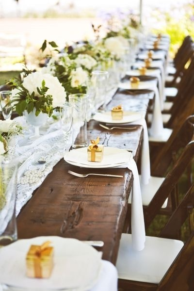 wooden tables wedding ideas lace table runner