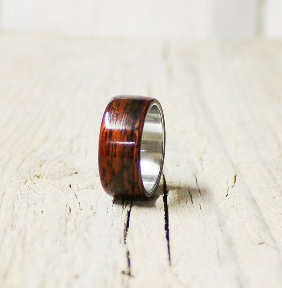 Mahogany wood and stainless steel ring unisex by agatechristina, $32.00