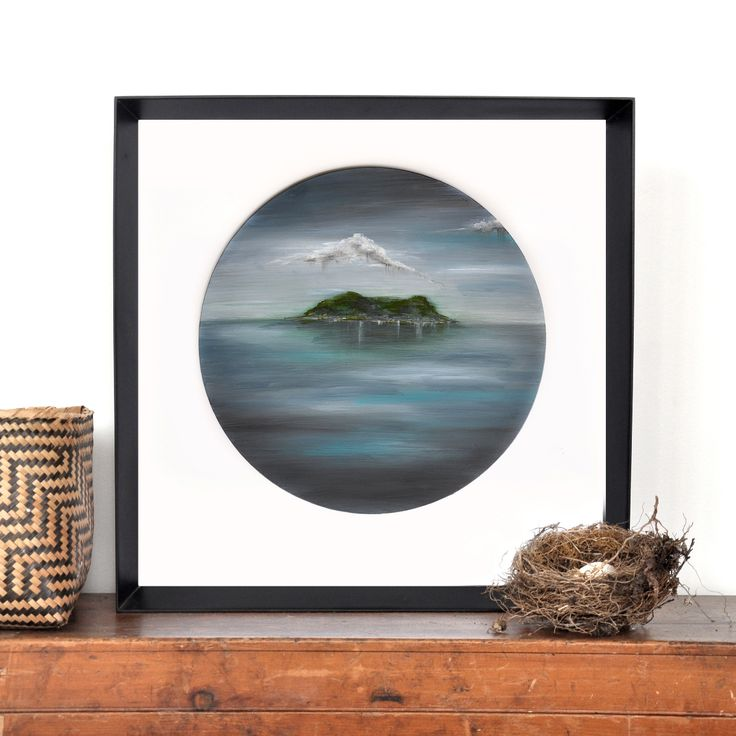 Island painting - original art by The Penny Drops. Round wall art. Blue, green, moody and dreamy. Available on Etsy. Update: SOLD